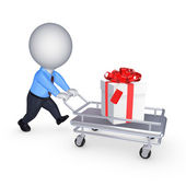 3d small person with giftbox on pushcart. — Stock Photo