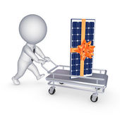 Solar battery on a pushcart. — Stock Photo