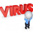 3d small person and word VIRUS. — Stock Photo #36266705