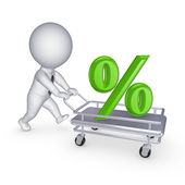 3d person with symbol of percents on a pushcart. — Stock Photo