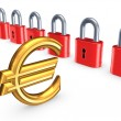 Colorful locks and sign of euro. — Stock Photo