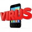 Word VIRUS and modern mobile phone. — Stock Photo #36277995