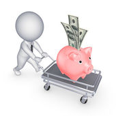 Piggy bank on a pushcart. — Stock Photo
