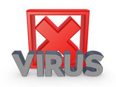 Cross mark and word VIRUS. — Stock Photo