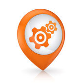 GPS icon with symbol of gear. — Stock Photo
