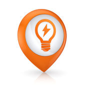 GPS icon with symbol of bulb. — Stock Photo