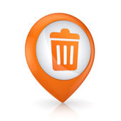 GPS icon with symbol of trashcan. — Stock Photo