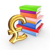 Sign of pound sterling and colorful books. — Stock Photo