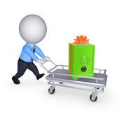 3d person with safe on a pushcart. — Stock Photo