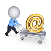 3d person with pushcart and AT symbol. — Stock Photo