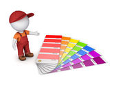 3d small person with color sampler. — Stock Photo