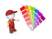 3d small person with color sampler. — Stockfoto