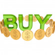 Word BUY and golden coins around. — Stock Photo #8433710