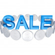 Word SALE and silver coins around. — Stock Photo #8434108