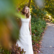 Beautiful bride in white dress in autumn park - Stock Photo