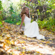 Happy bride in white dress on autumn sunny nature - Stock Photo