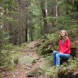 Stock Photo: Hiker womsitting on halt in stones among forest