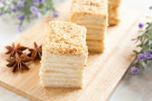 Cake Napoleon of puff pastry with sour cream — Stock Photo