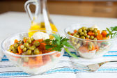 Vegetarian salad with canned peas, boiled carrots and vegetables — Stock Photo
