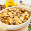 Vegetables casserole with mushrooms, potatoes and cheese closeup — Stock Photo #16950667