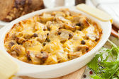 Baked mushrooms, potatoes and cheese closeup — Stock Photo