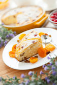 Cheese dessert with dried apricot and raisins close-up — Stock Photo