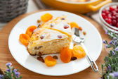 Cheese Pie closeup with dried apricot and raisins — Stock Photo