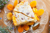 Cheese cake with dried apricot and raisins close-up on a plate — Stock Photo