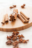 Close up of spices cinnamon and anise for christmas cake — Stock Photo
