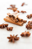 Anise and cinnamon on homemade canvas close up — Stock Photo