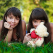 Portrait beautiful young twins sisters in a summer green park — Stock Photo #20564567