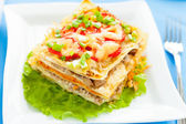 Freshly baked homemade lasagna with vegetables — Stock Photo