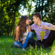 Stock Photo: Young happy couple flirting in summer sunny park