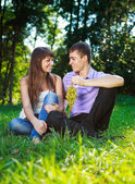 Happy cheerful couple with a bunch of grapes in the summer park — Stock Photo
