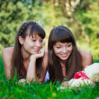Beautiful young twins sisters in a summer green park — Stock Photo