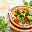 Pasta with vegetables. Italian food — Stock Photo