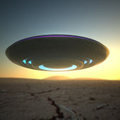 UFO spaceship in the desert spycam view — Stock Photo