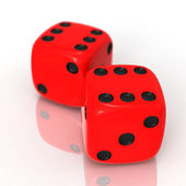 Red dices on white — Stock Photo