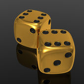 Golden dices on balck — Stock Photo