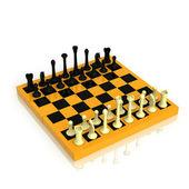 Schackbräde med en full uppsättning av siffror — Stockfoto