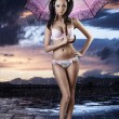 Sexy brunette in full lenght with open umbrella — Stock Photo #12663964