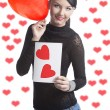 Pretty brunette with valentine postcard and balloon — 图库照片