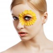 The floral makeup, she is turned of three quarters — Stock Photo #21376291