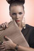 Morena moda leva o saco — Fotografia Stock