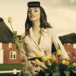Pretty pin-up outdoor with flower — Stok fotoğraf