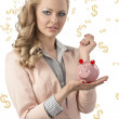 Beauty business woman with piggybank — Stock Photo #26219659
