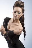 Elegant girl with creative hair-style — Stock Photo