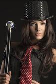 Portrait of female cabaret performer — Stock Photo