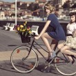 Stock Photo: Two vintage women on bicycle near the sea