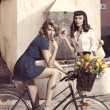 Couple of fashion girls with bicycle — Stock Photo